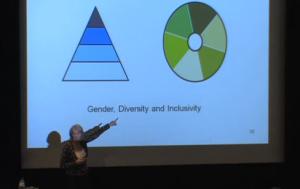 Foto van Joshine Green met link naar de video van haar speech