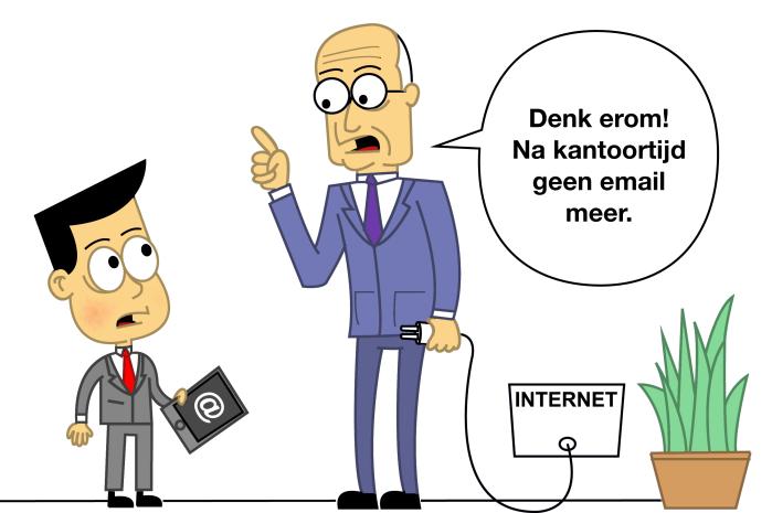 Cartoon van een vader in pak die tegen zoon in pak zegt dat hij na kantoortijd geen email meer mag bekijken